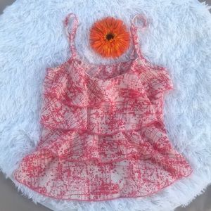 Ruffle Tank Top Orange and White size S